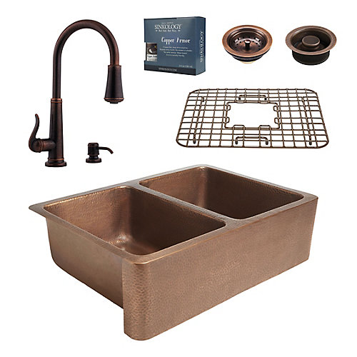 All-In-One Rockwell Farmhouse Copper Kitchen Sink Kit with Ashfield Pull Down Faucet Rustic Bronze