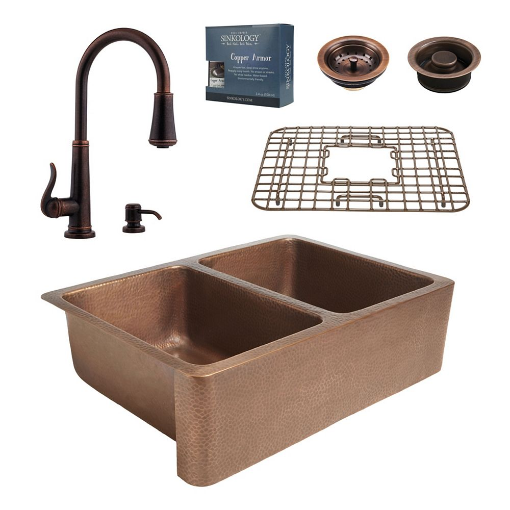 Sinkology All-In-One Rockwell Farmhouse Copper Kitchen Sink Kit with Ashfield Pull Down Faucet Rustic Bronze