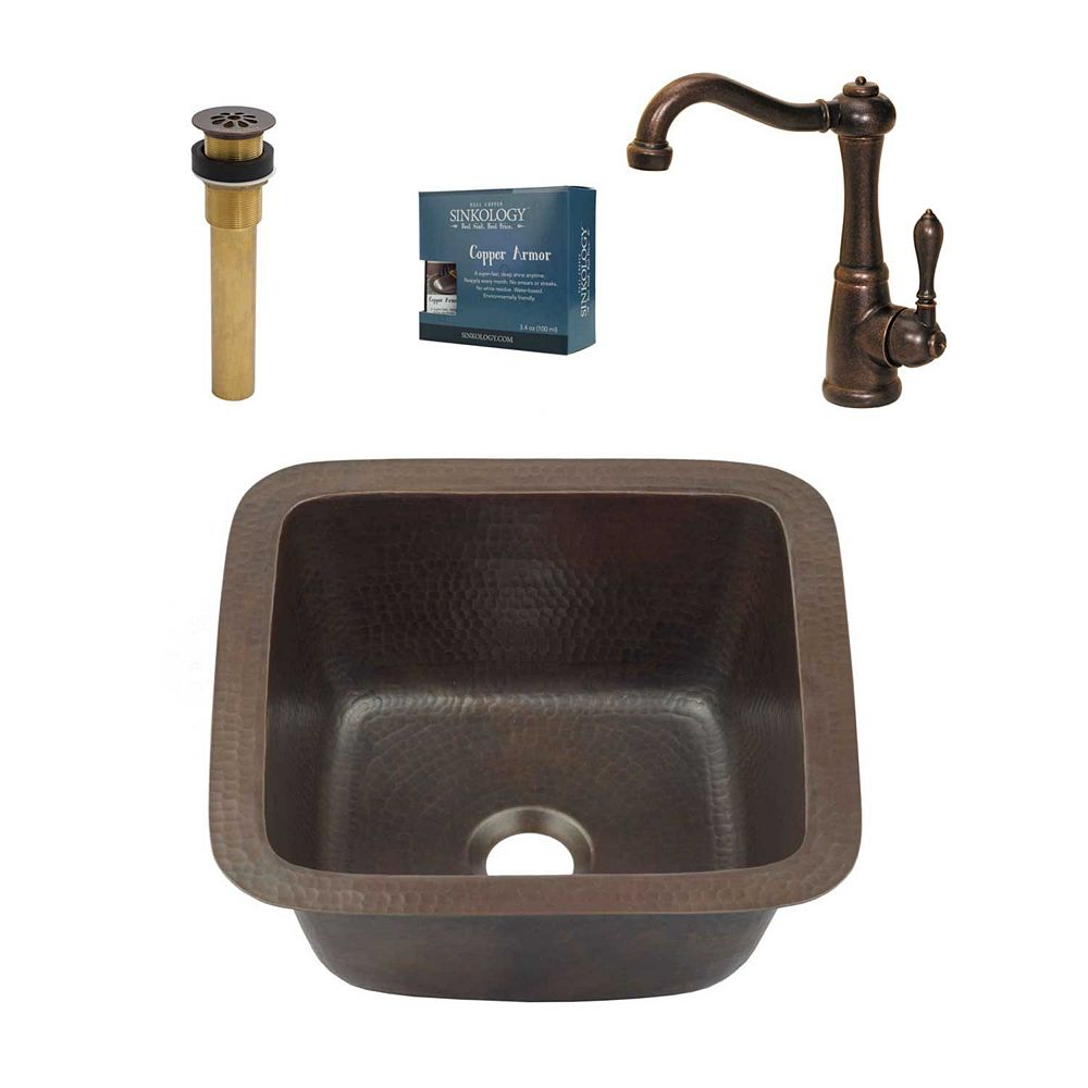 Sinkology Pollock All-in-One Drop-In or Undermount 15-inch Copper Bar/Prep Kitchen Sink with Faucet & Drain