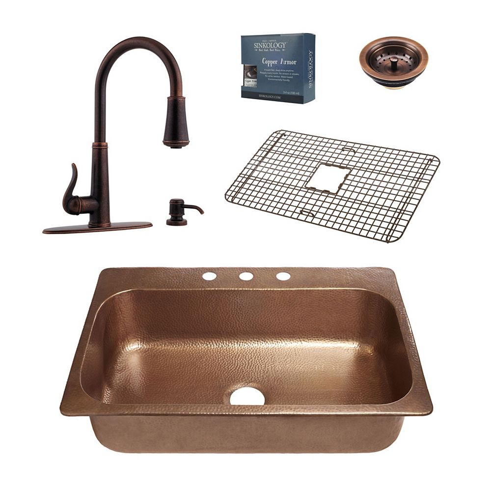 Sinkology Angelico All-In-One Copper Drop-In Kitchen Sink Design Kit with Ashfield Pull Down Faucet in Bronze