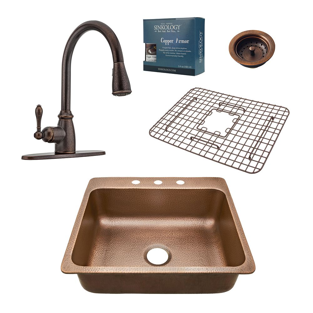 Sinkology Rosa All-In-One Drop-In 25-inch 3-Hole Copper Kitchen Sink Combo with Pull Down Bronze Faucet