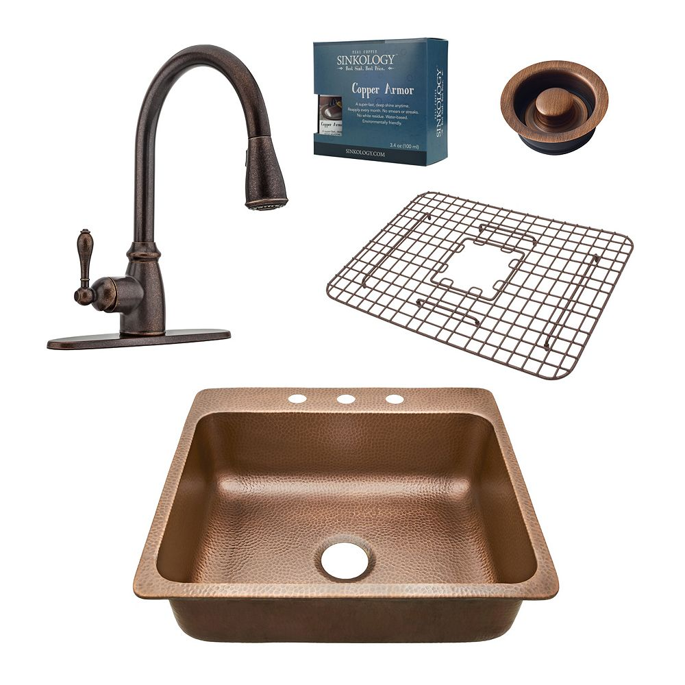 Sinkology Rosa All-In-One Drop-In 25-inch 3-Hole Copper Kitchen Sink Combo with Bronze Faucet and Drain