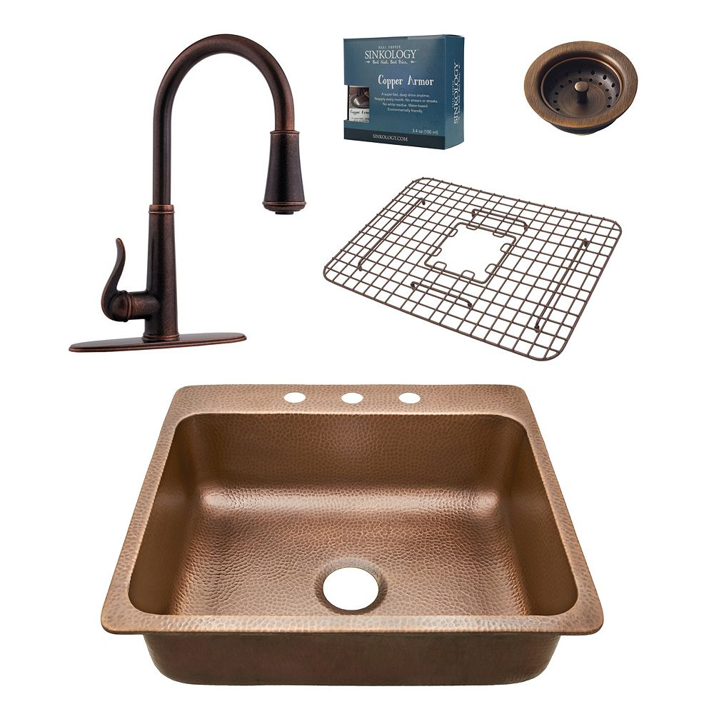 Sinkology Rosa All-In-One 25-inch 3-Hole Copper Kitchen Sink Combo with Pfister Ashfield Bronze Faucet