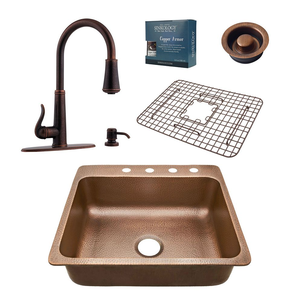 Sinkology Rosa All-In-One 25-inch 4-Hole Copper Kitchen Sink Combo with Pfister Ashfield Bronze Faucet & Drain