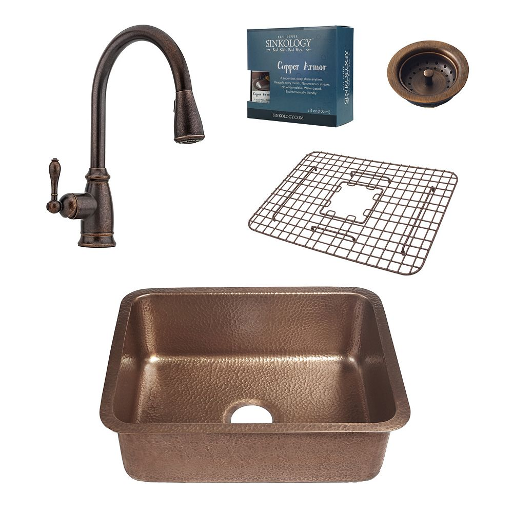Sinkology Renoir All-In-One Undermount Copper Kitchen Sink Kit with Pfister Pull Down Rustic Bronze Faucet