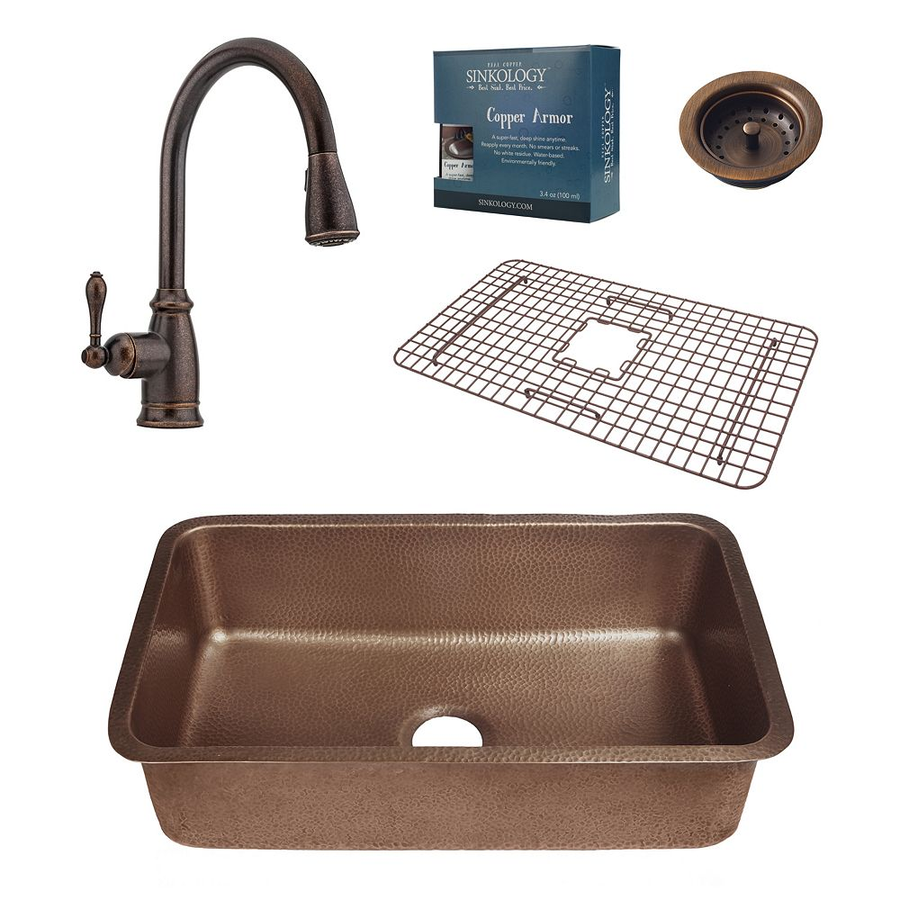 Sinkology Orwell Undermount Copper Kitchen Sink Combo with Strainer Drain and Bronze Pull Down Faucet