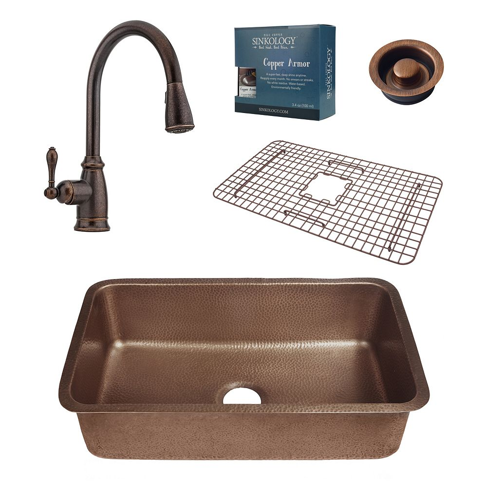 Sinkology Orwell Undermount Copper Kitchen Sink Combo with Disposal Drain and Bronze Pull Down Faucet