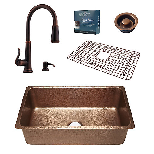 David Copper Kitchen Sink Combo with Pfister Ashfield Bronze Faucet and Disposal Drain