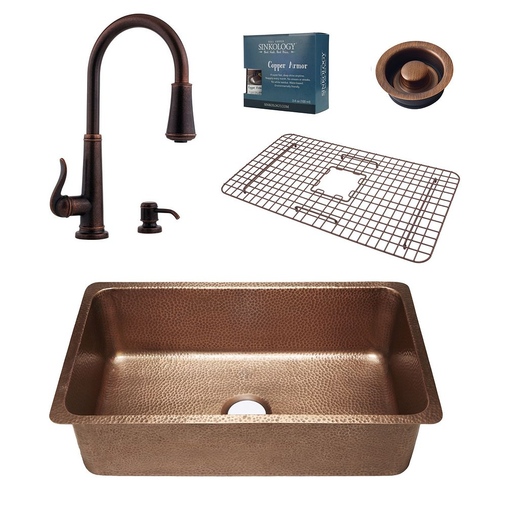 Sinkology David Copper Kitchen Sink Combo with Pfister Ashfield Bronze Faucet and Disposal Drain