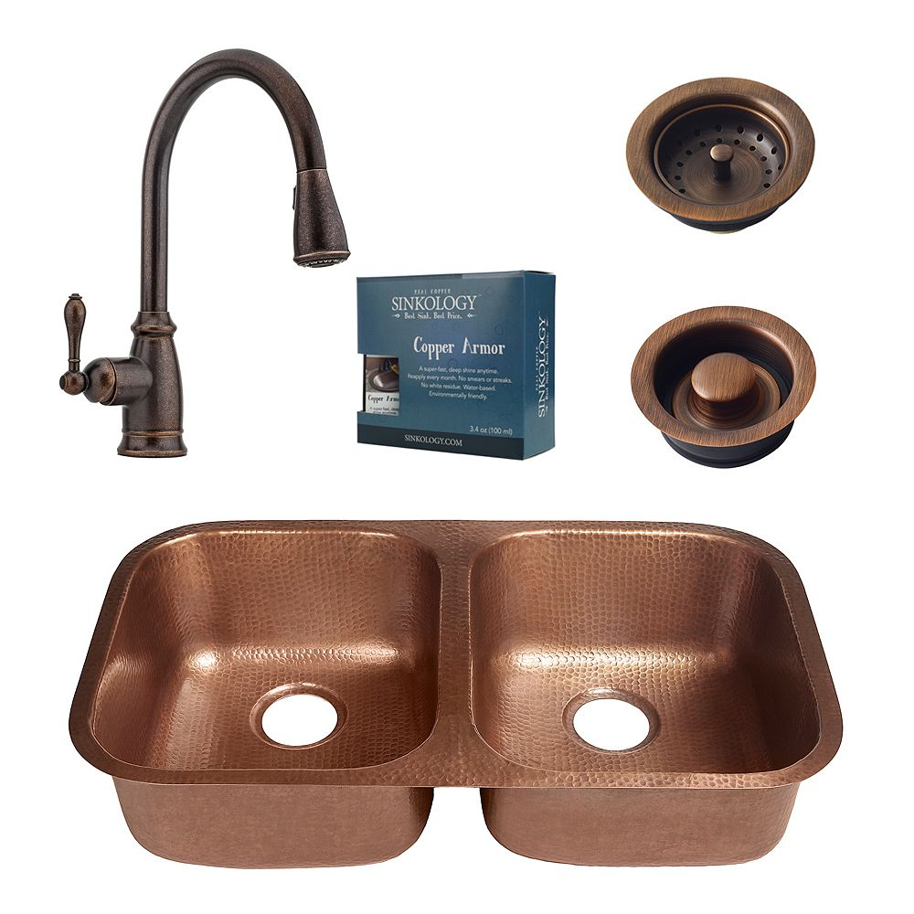 Sinkology Kandinsky All-in-One Undermount Copper 32 1/4-inch Kitchen Sink with Bronze Faucet and Drains