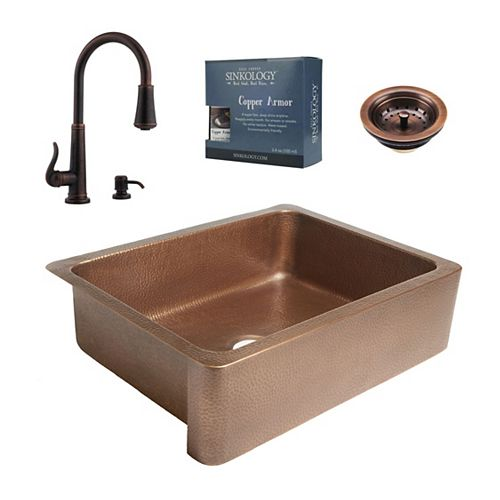 Sinkology Courbet All-In-One Copper Farmhouse Kitchen Sink Kit with Ashfield Pull Down Faucet in Rustic Bronze