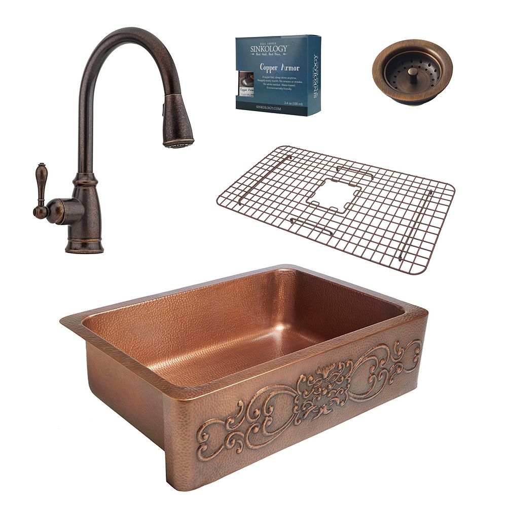 Sinkology Ganku All-in-One Farmhouse Copper 33-inch Kitchen Sink with Bronze Faucet and Strainer Drain