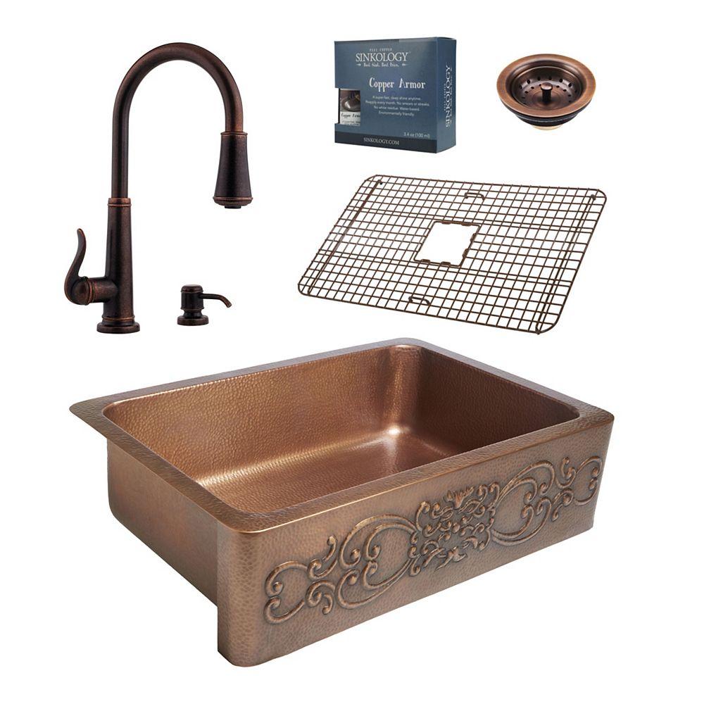 Sinkology Ganku All-In-One Copper Farmhouse Kitchen Sink Kit with Ashfield Pull Down Faucet in Rustic Bronze