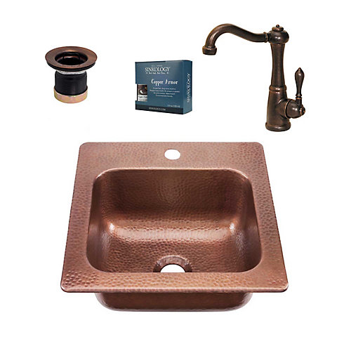 Seurat All-in-One Drop-In Copper 15-inch Sold Copper Bar Sink with Pfister Bronze Faucet and Drain
