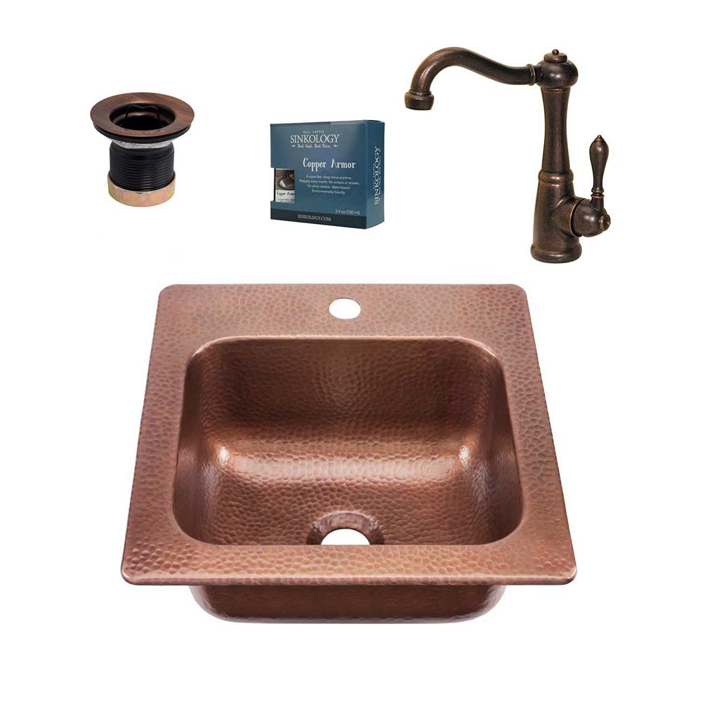 Sinkology Seurat All-in-One Drop-In Copper 15-inch Sold Copper Bar Sink with Pfister Bronze Faucet and Drain