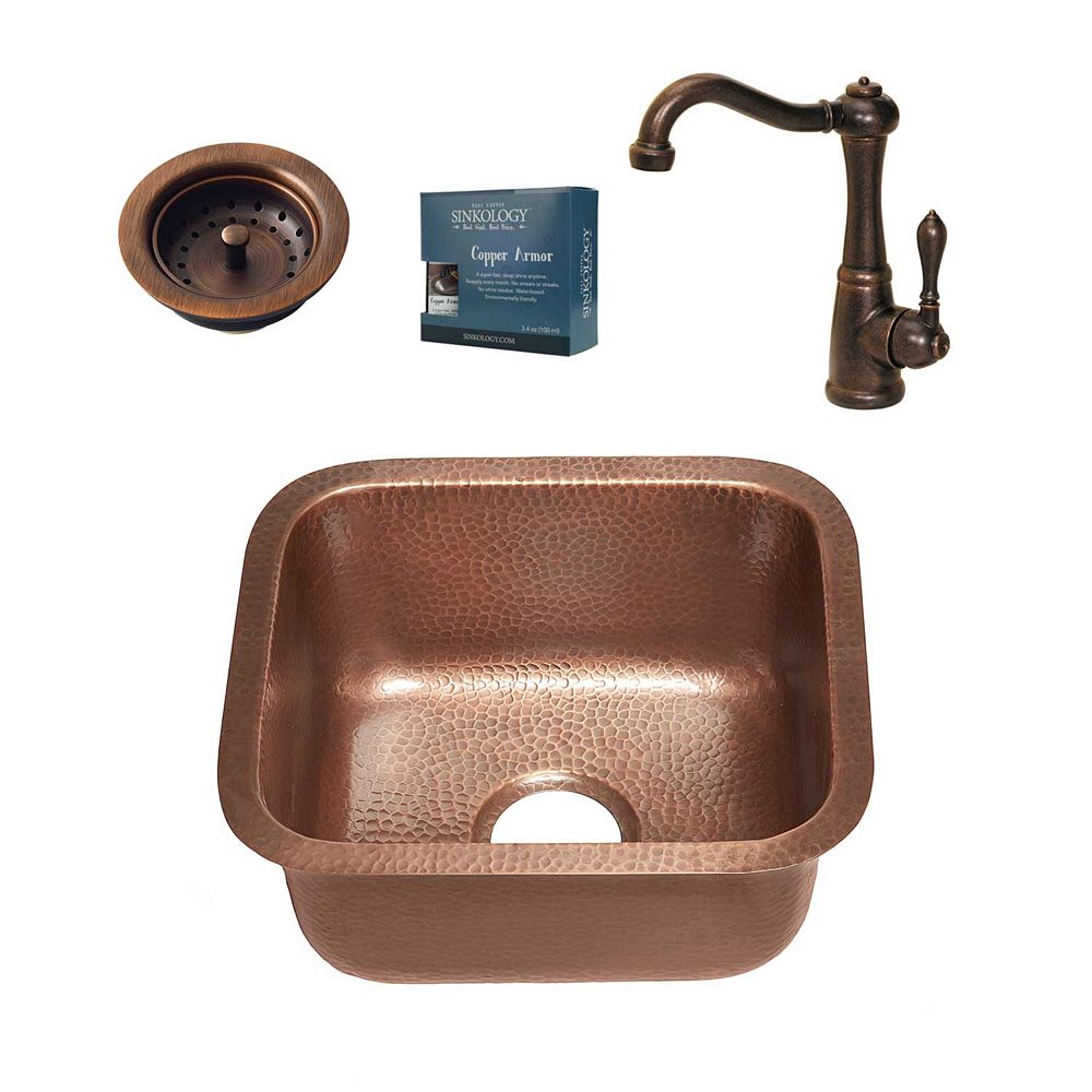 Sinkology Sisley All-in-One Undermount 17-inch Copper Bar/Prep Sink with Bronze Faucet and Strainer Drain