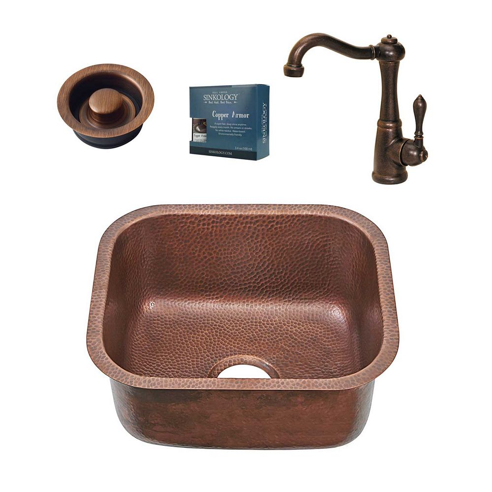 Sinkology Sisley Chef Series Undermount Copper Prep Kitchen Sink with Faucet and Disposal Drain