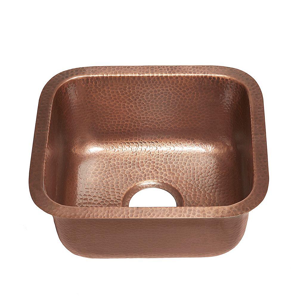 Sinkology Sisley Undermount Handmade Copper Sink 17-inch Bar/Prep Sink in Antique Copper