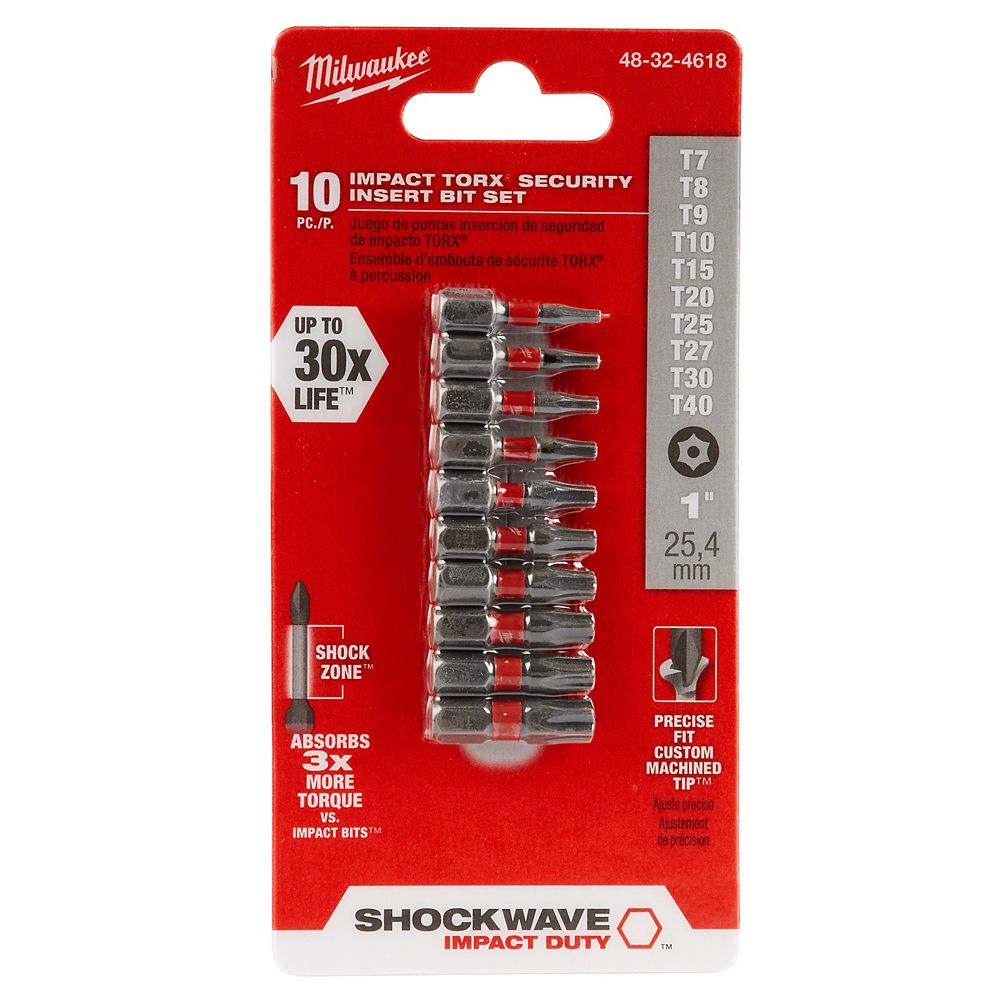 Milwaukee Tool SHOCKWAVE IMPACT DUTY Jeu d'embouts de sécurité Torx (10 pièces)