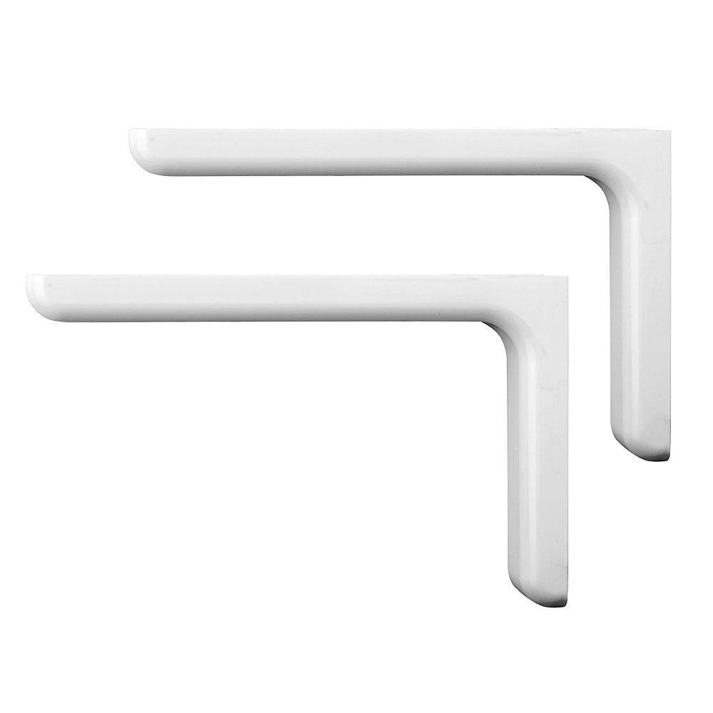 Everbilt Supports de tablette décoratifs 9-1/4'' fini en vinyle blanc (paquet de 2)