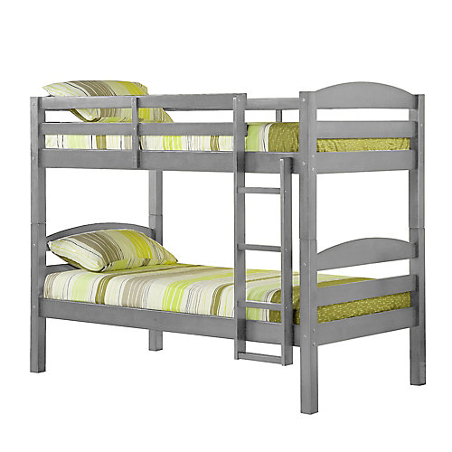 Classic Solid Wood Twin Over Twin Bunk Bed - Grey