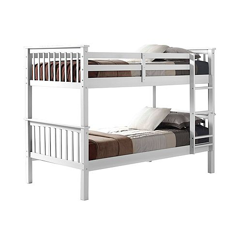 Solid Pine Wood Twin Over Twin Mission Bunk Bed  White