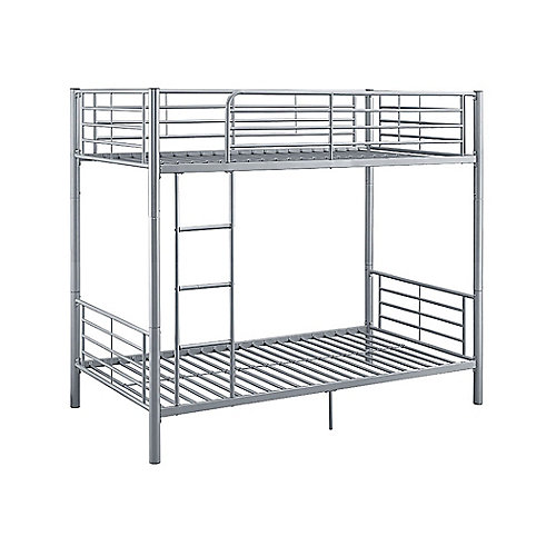 Modern Metal Twin over Twin Bunk Bed - Silver