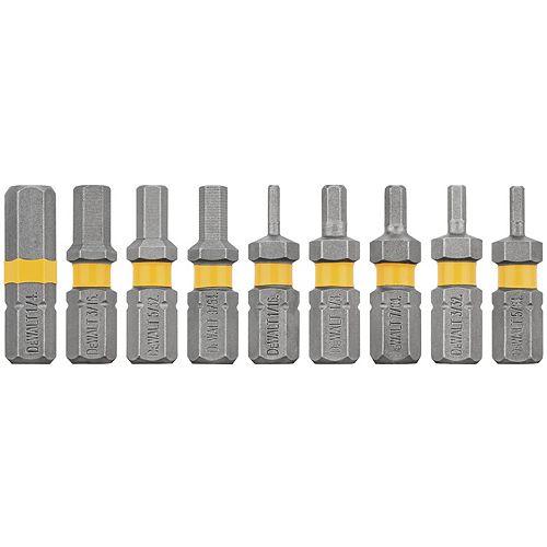 MAXFIT 1 inch Steel Security Hex Drill Bit Tip Set (9 Piece)