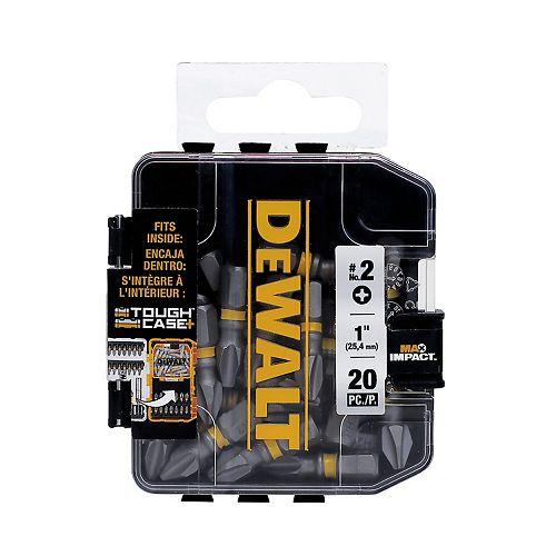 DEWALT MAX Impact 2 x 1 pouce en acier Embout de vissage Phillips (20PK)