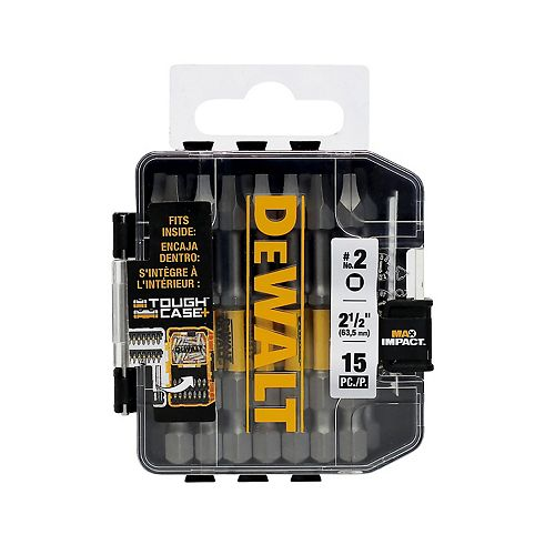 DEWALT MAX IMPACT 2.5-inch #2 Square Bit (15-Piece) with Small Bulk Storage Case