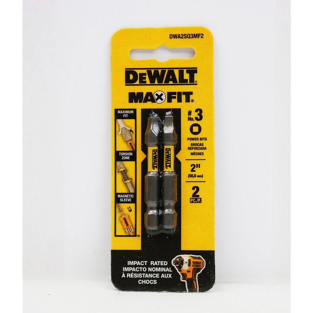 DEWALT MAXFIT 3 x 2-inch Steel Square Screwdriving Bit (2PK)