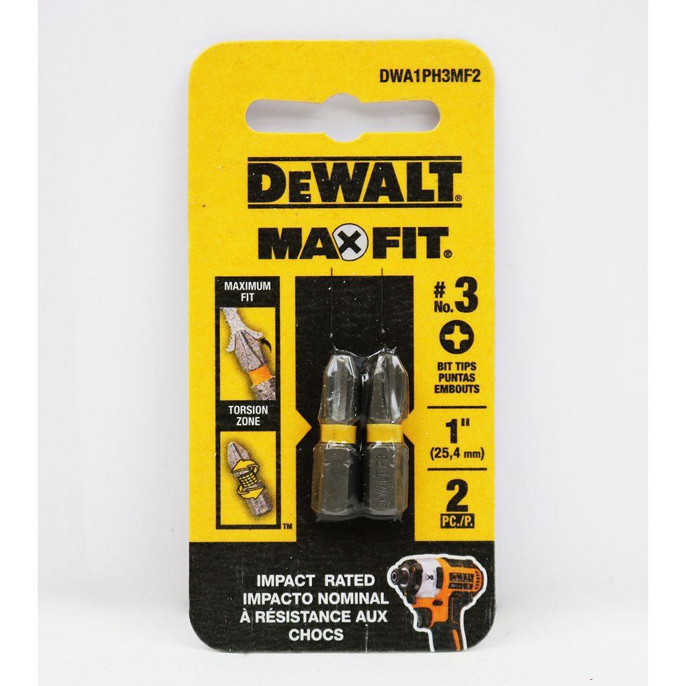 DEWALT MAXFIT 3 x 1 pouce en acier Embout de vissage Phillips en acier (2PK)