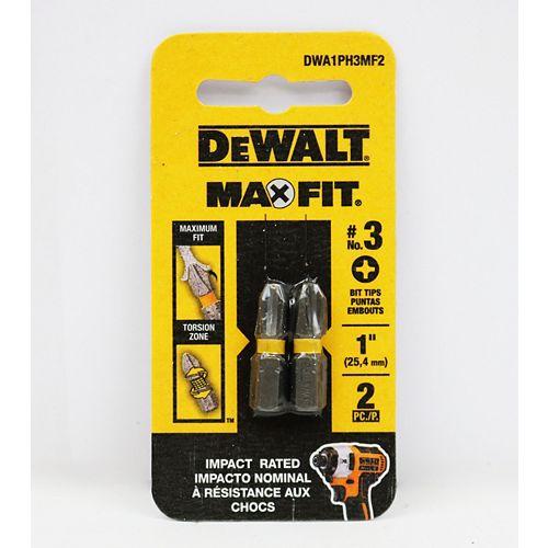 "DEWALT MAX Impact 2-1/2"" carré 2 bits (2 pièces)"