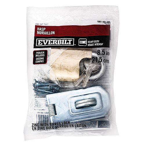 EVERBILT Everbilt 8-1/2-in Security Hasp and Brass Padlock Kit, 2pc