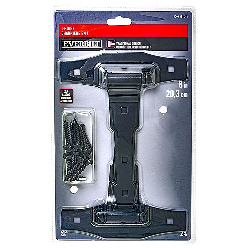 Everbilt 8-in Traditional-Style Self-Closing Spring T-Hinge, Black, 2pc