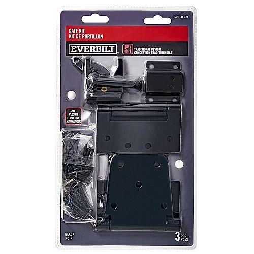 Everbilt Self-Closing Traditional Gate Kit, Black, 3pcs