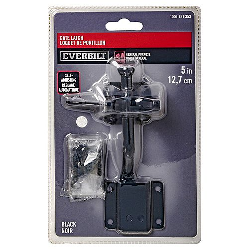 Everbilt 5-in Self-Adjusting Gate Latch, Black, 1pc