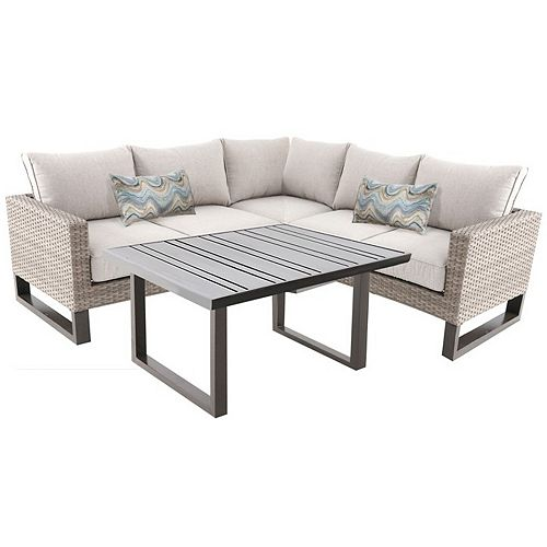 Park Heights Steel Wicker 4-Piece Sectional Set with Beige Cushions