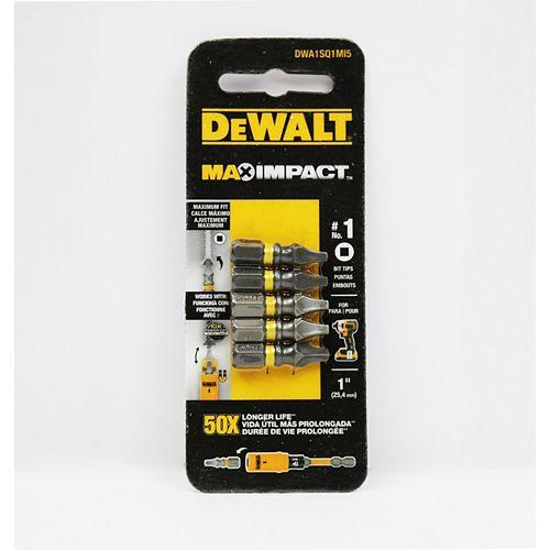 DEWALT MAX Impact 1 x Embout de vissage carré en acier de 1 pouce (5PK)