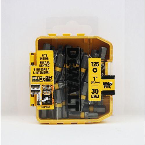 MAXFIT 25 x 1 pouce acier Torx Embouts de vissage avec boîte de rangement (30PK)