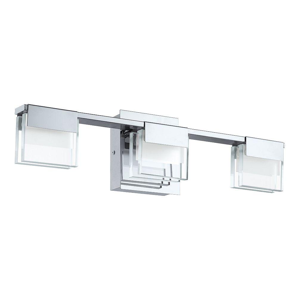 Eglo Luminaire pour meuble-lavabo à DEL à 3 ampoules avec diffuseur en verre transparent et satiné Vicino