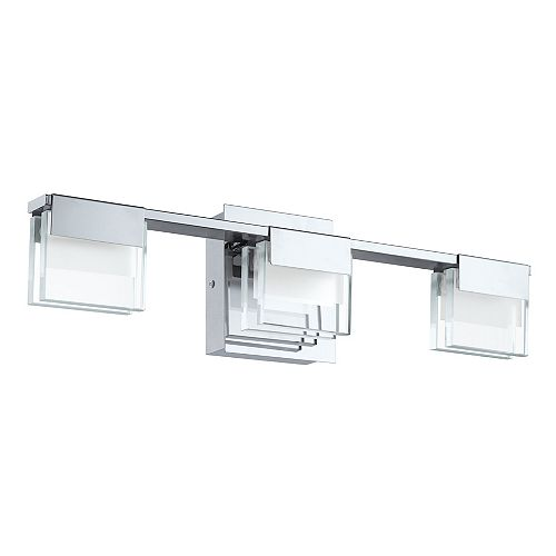 Vicino 3-Light Integrated LED Chrome Vanity Light Fixture with Clear & Satin Glass