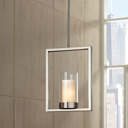 Luminaire suspendu à 1 ampoule, fini nickel satiné