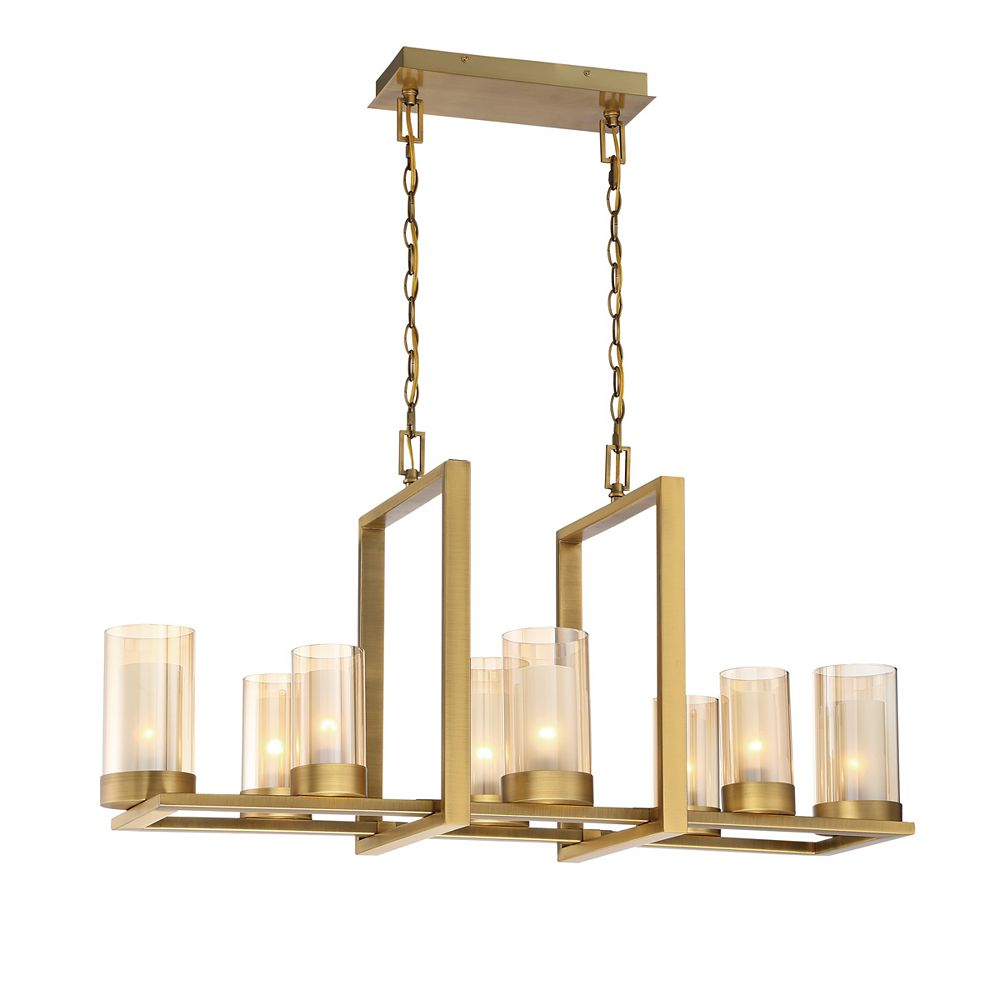 32 Light Linear Chandelier, Gold