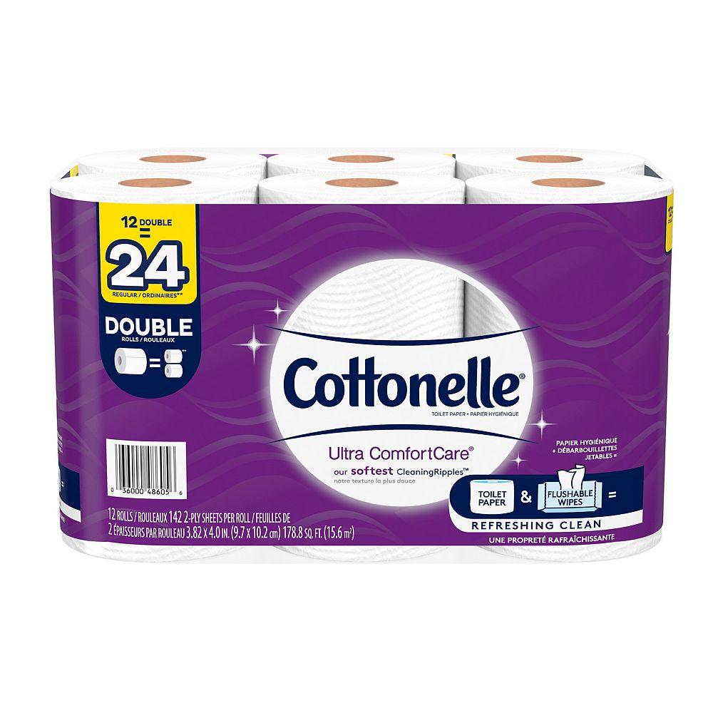 Cottonelle Papier hygiénique Ultra ComfortCare doux, 12 rouleaux doubles