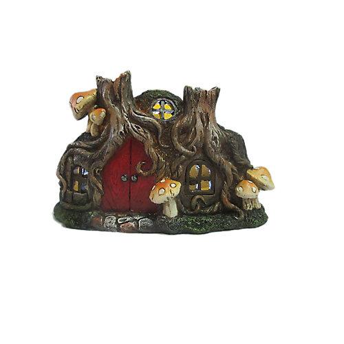 Fairy Garden Tree Root House with Red Door and Mushroom