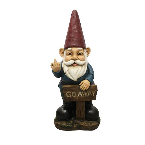 Gnome Holding Go Away Sign Statue