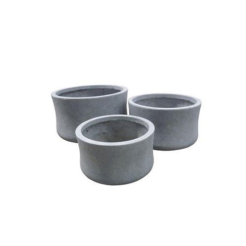Ensemble de 3 pots. Couleur: gris.