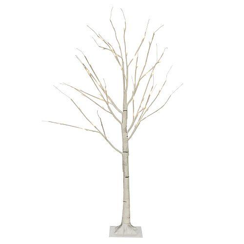 48-Light Warm White LED Lit White Birch Indoor/Outdoor Christmas Tree