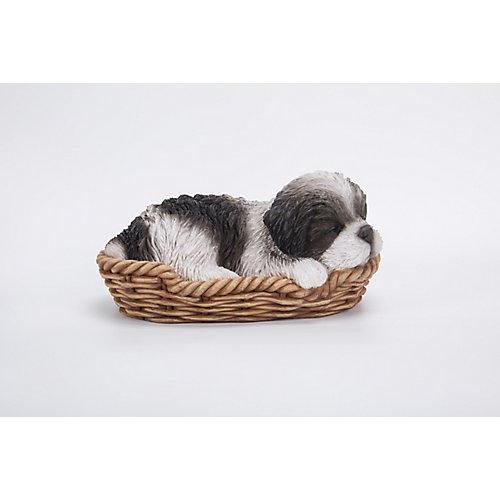 Shih Tzu Sleeping Wicker Basket Statue